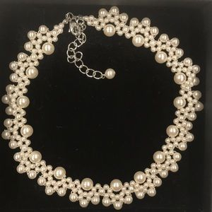 Faux pearls choker necklace Hand Made
